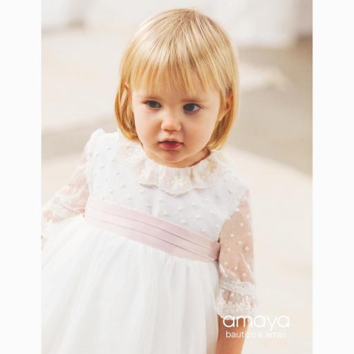 Vestido de bebe Ceremonia AMAYA manga francesa tul modelo 512014MF [1]