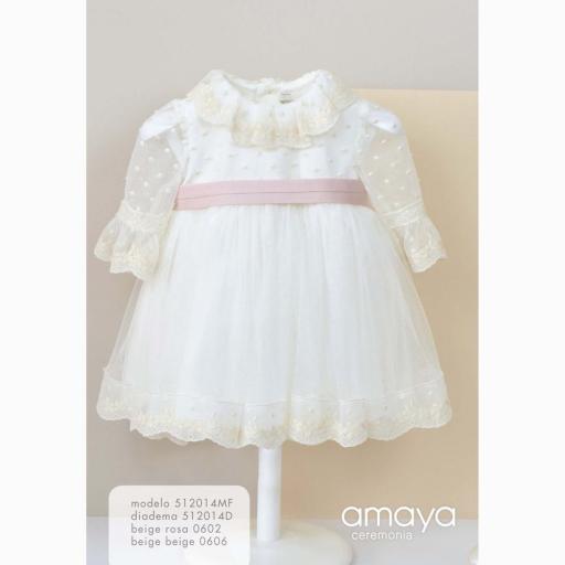 Vestido de bebe Ceremonia AMAYA manga francesa tul modelo 512014MF [2]