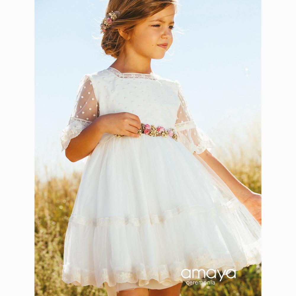 Vestido de Ceremonia AMAYA atemporal de tul bordado modelo 513020