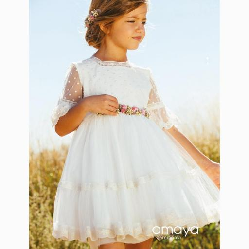 Vestido de Ceremonia AMAYA 2021 de tul bordado modelo 513020