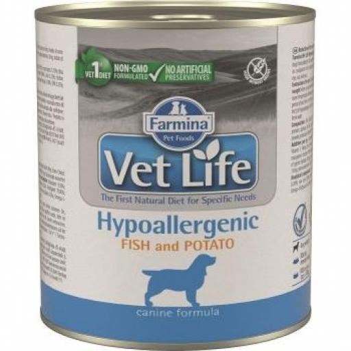 Farmina Vet Life Dog Hypoallergenic Pescado Lata 6 x 300 grms.