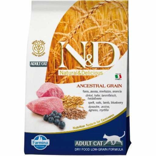 Farmina N&D Low Grain Adult CAT Cordero & Arandano