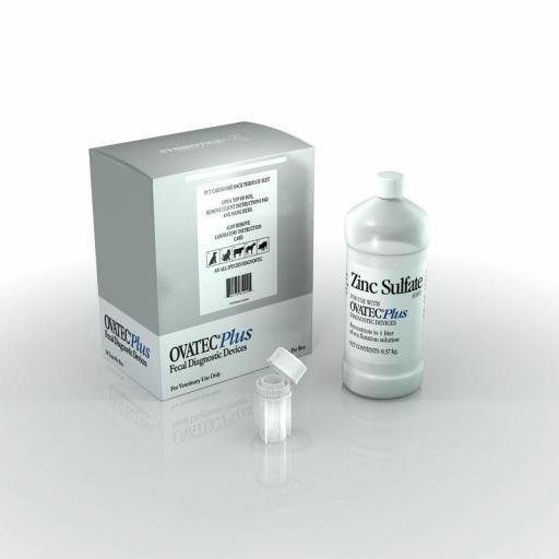 OVATEC PLUS 1CAJA (50 TEST+ MEDIO DE FLOTACIÓN) Detección Parásitos Gastrointestinales Perros, Gatos y Caballos