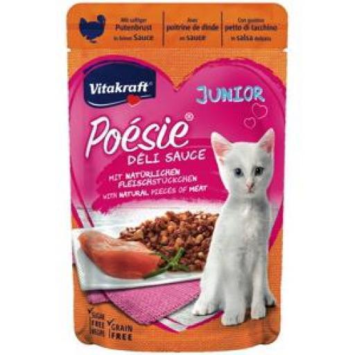 VITAKRAFT Gato Poesie Deli Sauce Junior Pouch con Pavo (23 x 85 grms.)