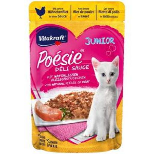 VITAKRAFT Gato Poesie Deli Sauce Junior Pouch con Pollo (23 x 85 grms.)