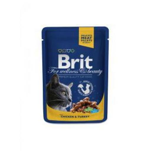Brit Premium Cat Pollo Y Pavo Salsa (24 x 100 grms. sobre)