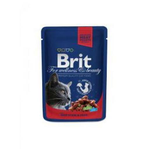 Brit Premium Cat Estofado De Ternera & Guisantes Salsa Sobre (24x100 grms)