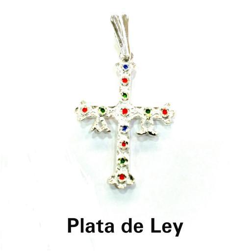Colgante cruz de Asturias plata con esmalte grande