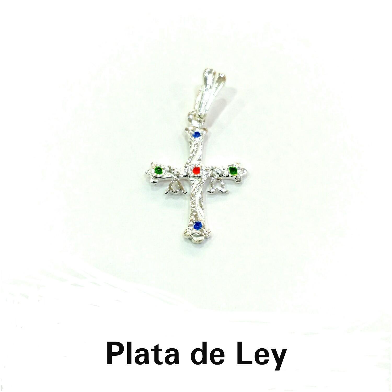 Colgante cruz de Asturias plata con esmalte mediana