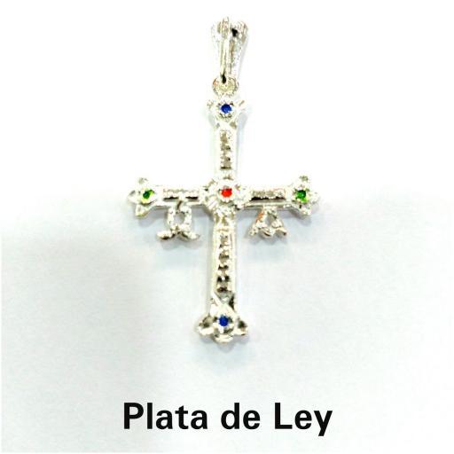 Colgante cruz de Asturias plata con esmalte grande [1]