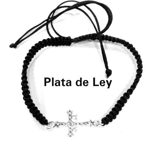 Pulsera cruz de Asturias plata y macramé