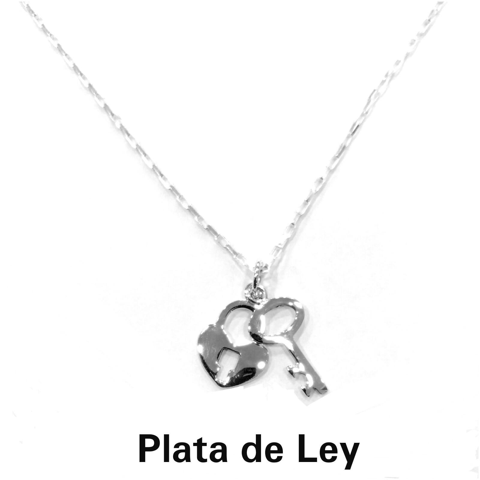 Colgante con cadena con llave y candado plata
