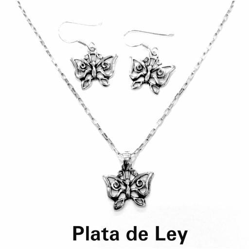 Conjunto pendientes y colgante mariposa plata