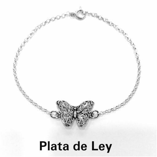 Pulsera mariposa plata