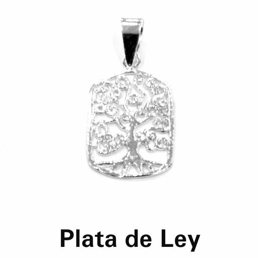 Colgante árbol de la vida rectangular plata