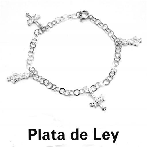 Pulsera Asturias cruz y silueta plata