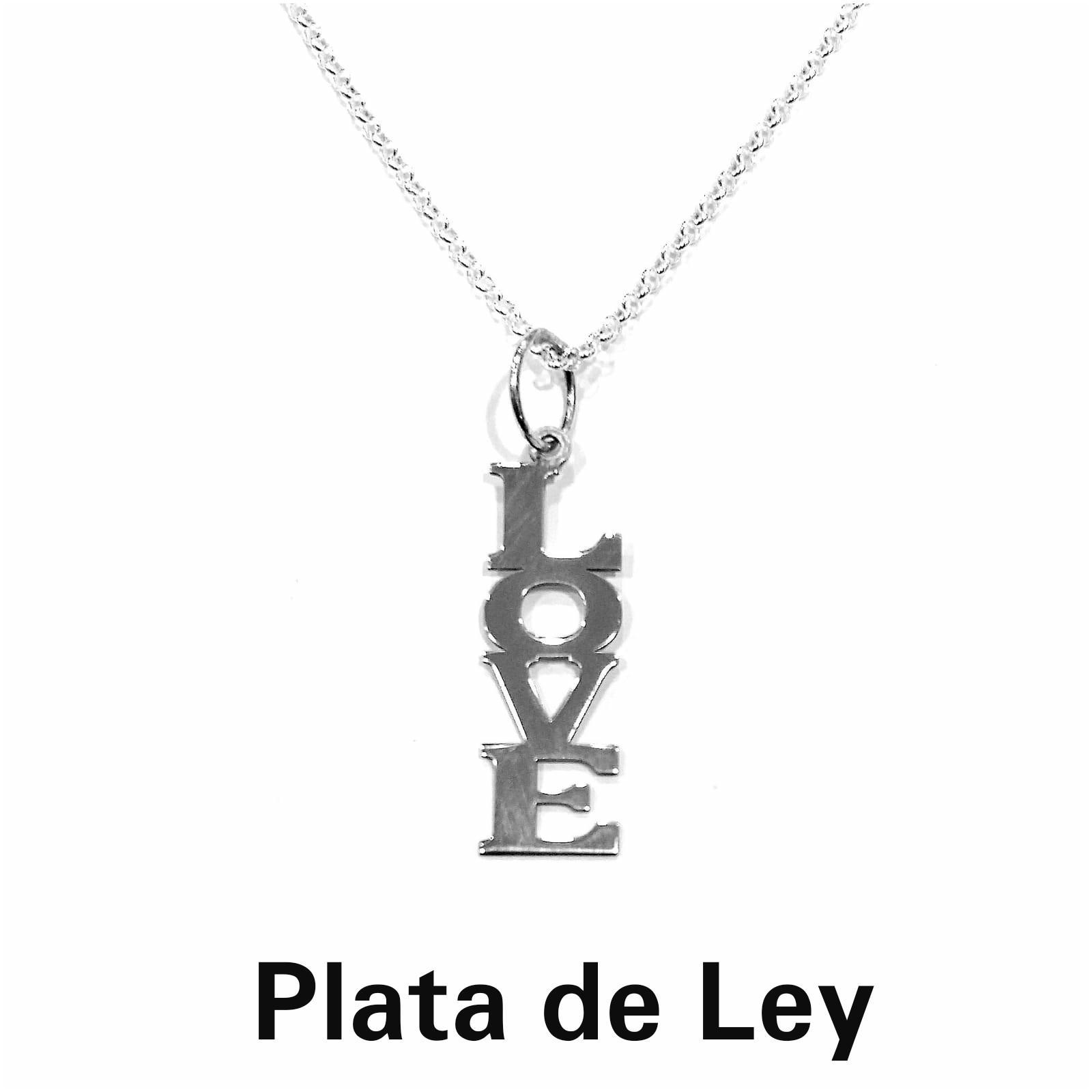 Colgante love vertical plata