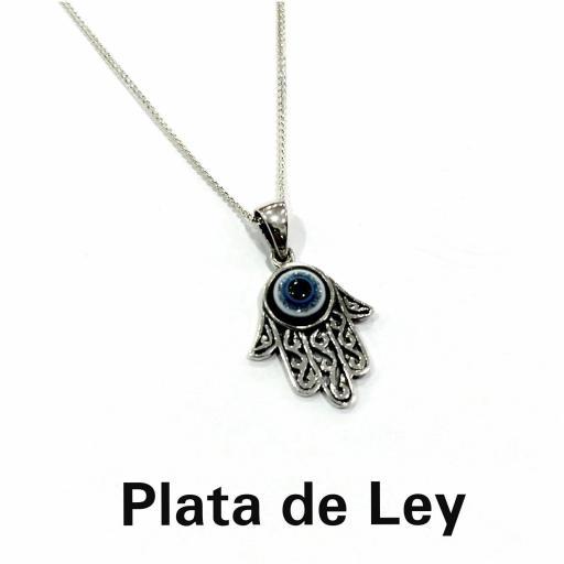 Colgante mano de Fátima ojo con cadena plata