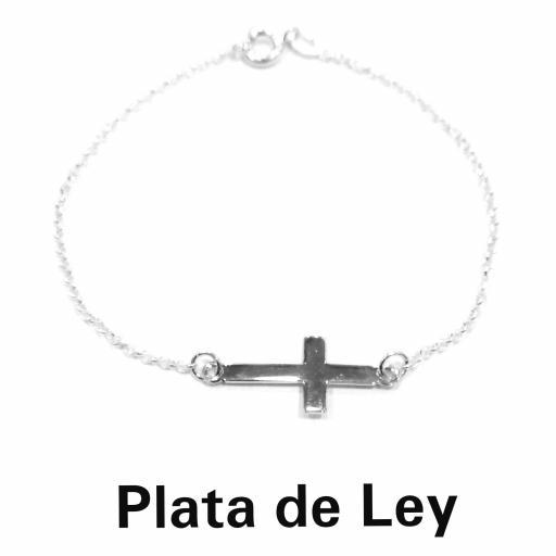 Pulsera con cruz transversal plata