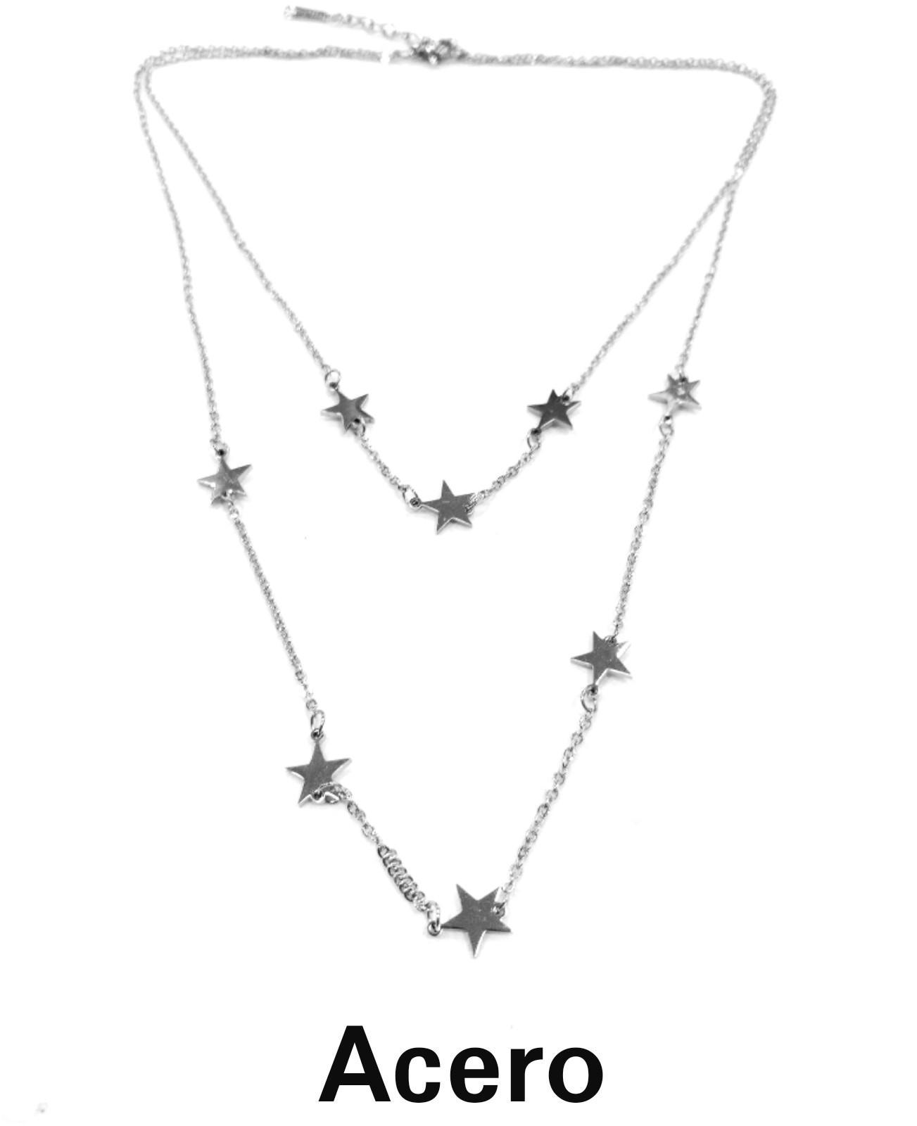 Gargantilla doble acero estrellas