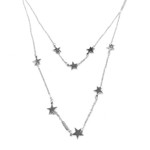 Gargantilla doble acero estrellas [0]