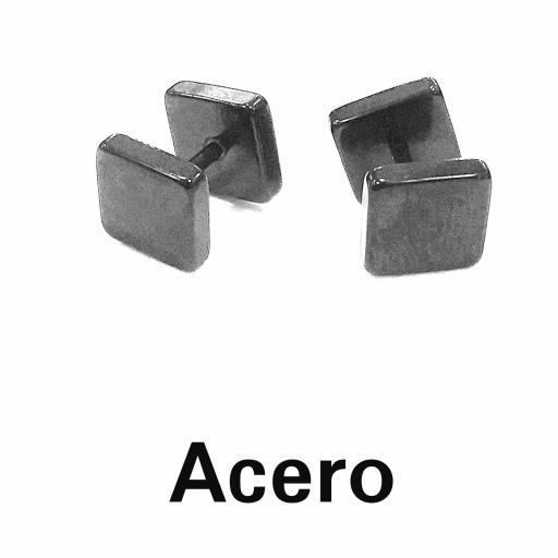 Pendientes dilatación falsa cuadrada acero negra [0]