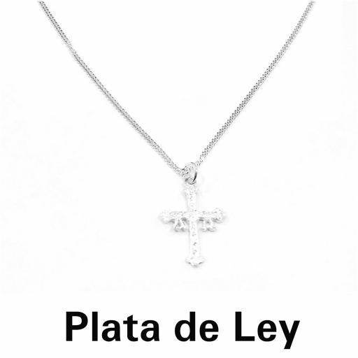 Colgante cruz de Asturias con cadena plata