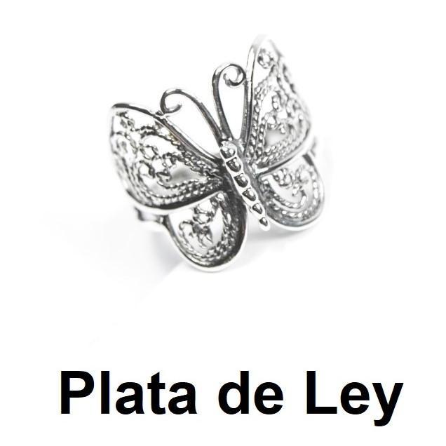 Anillo mariposa plata envejecida
