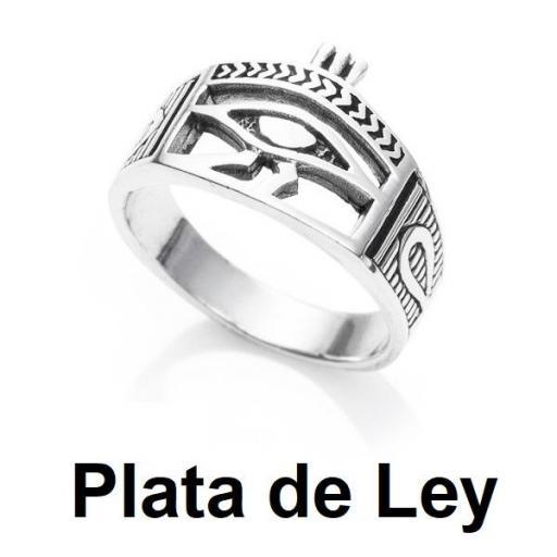 Anillo ojo de Horus envejecido plata