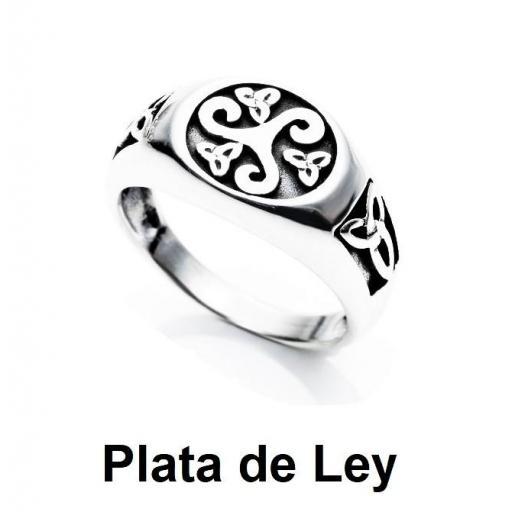 Anillo trisquel sello plata