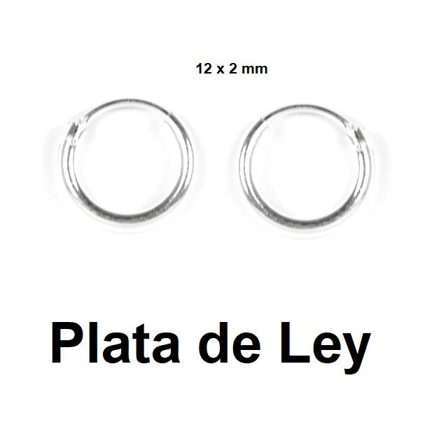 Pendientes aro plata 12 x 2 mm