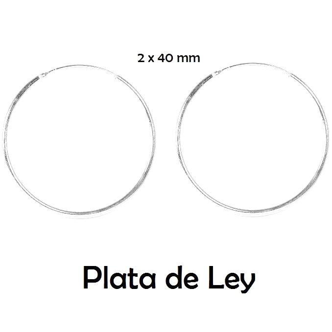 Pendientes aro plata lisa 2 x 40 mm