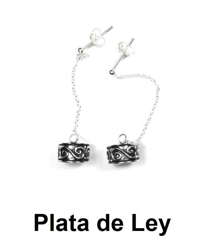 Pendientes cartílago con cadena espiral doble plata