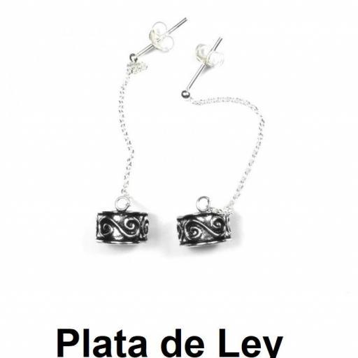 Pendientes cartílago con cadena espiral doble plata [0]