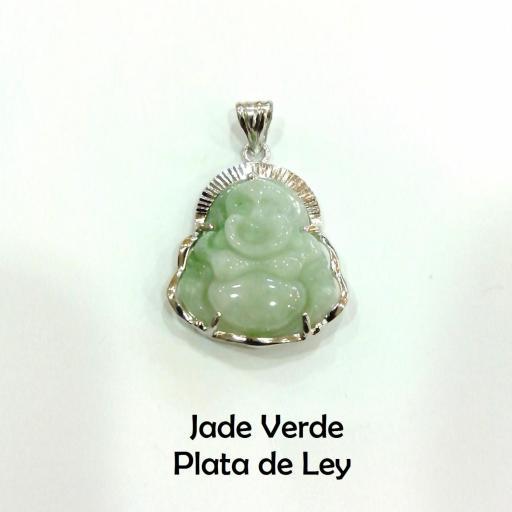 Colgante buda jade verde y plata