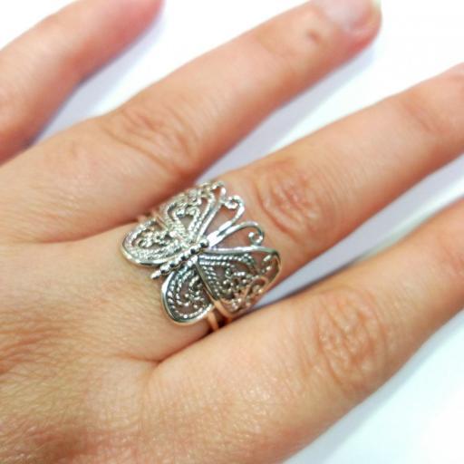 Anillo mariposa plata envejecida [3]