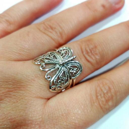 Anillo mariposa plata envejecida [2]