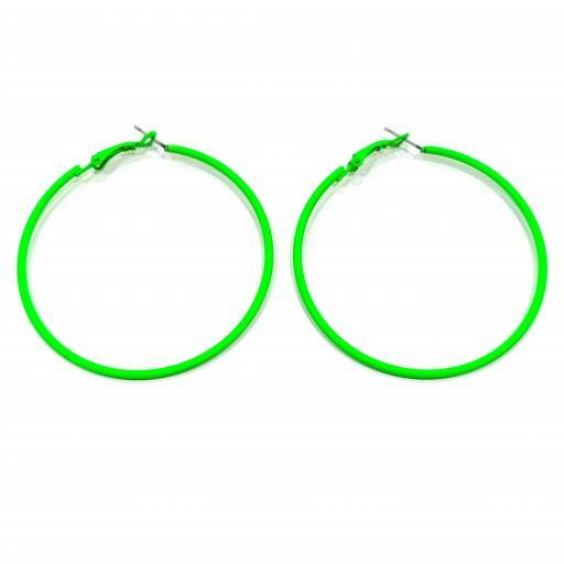 Pendientes aro verde fluorescente bisutería