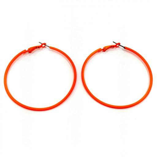 Pendientes aro naranja fluorescente bisutería