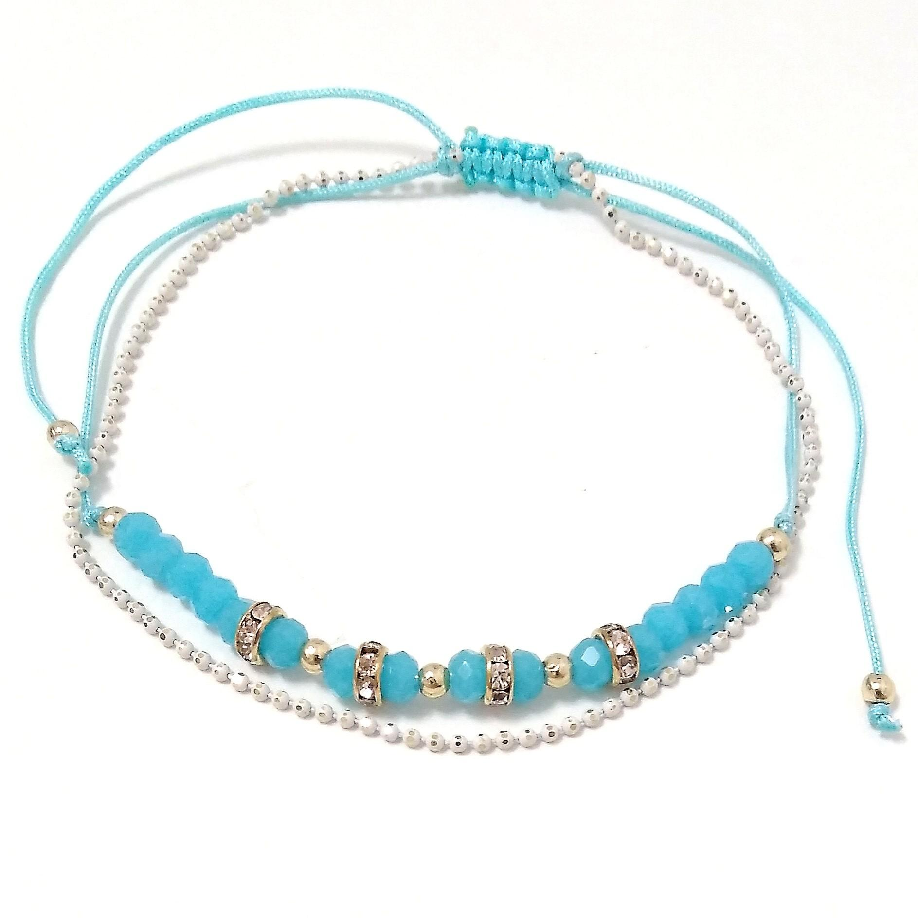 Tobillera hilo color azul turquesa