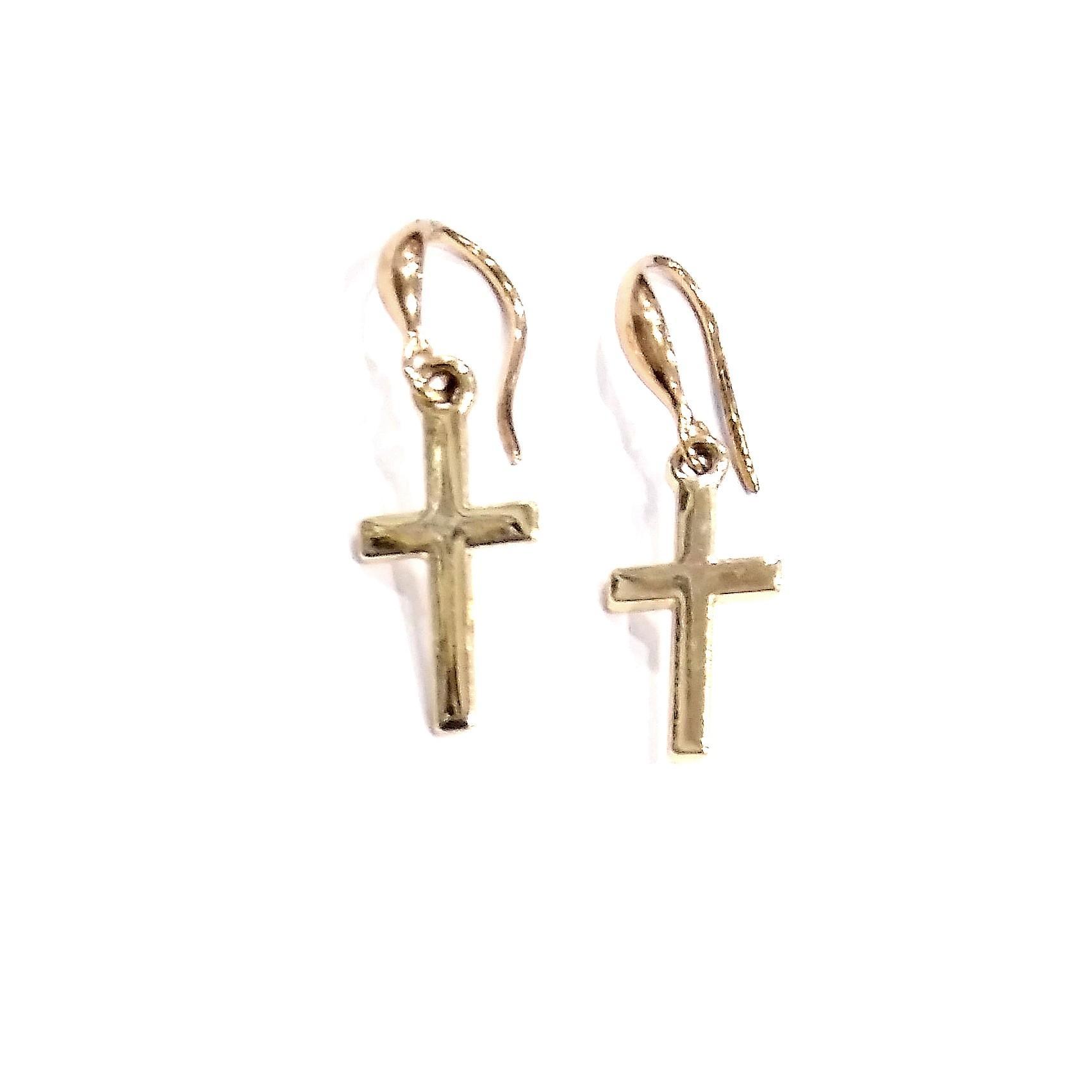 Pendientes gancho con cruz dorada bisutería