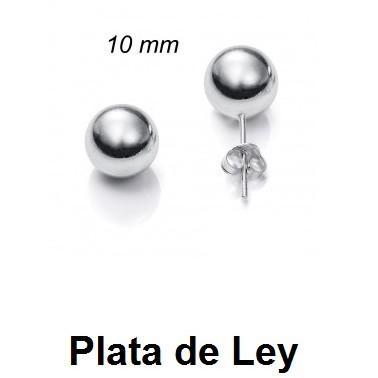 Pendientes bola plata lisa 10 mm