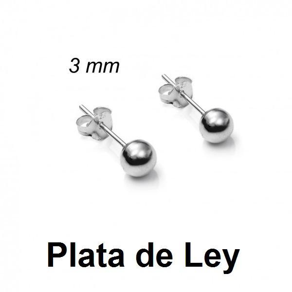Pendientes bola plata lisa 3 mm