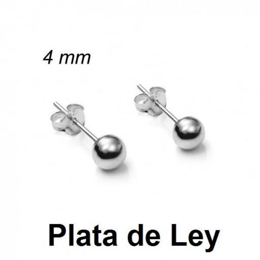 Pendientes bola plata lisa 4 mm