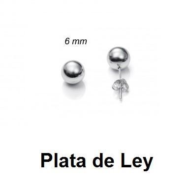 Pendientes bola plata lisa 6 mm