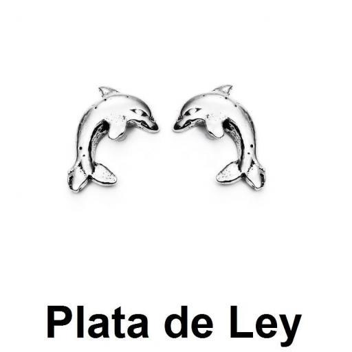 Pendientes mini delfín plata