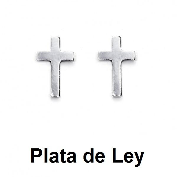 Pendientes cruz mini plata