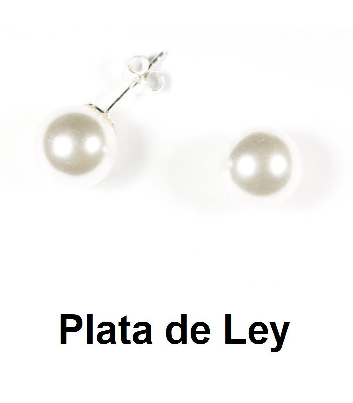 Pendientes perla 10 mm y plata