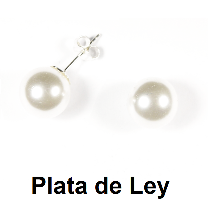 Pendientes perla 14 mm y plata