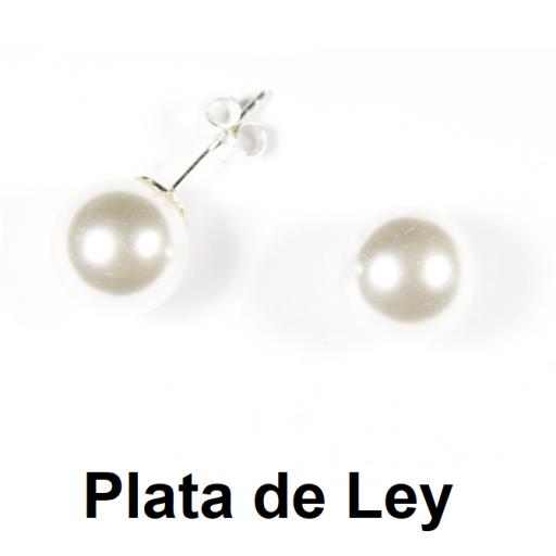 Pendientes perla 14 mm y plata [0]